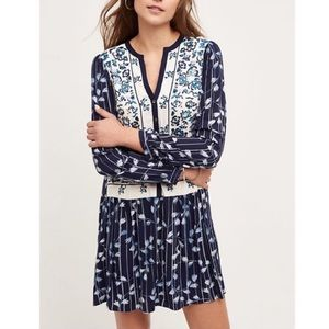 Anthropologie Tiny Semele blue embroidered dress